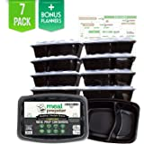 2 Compartment Meal Prep Divided Containers [Upgraded] Certified BPA Free - Reusable Stackable Food Storage Lunch Box Plastic Microwave Freezer Dishwasher Safe Airtight Lids (28 Oz) 7 Pack + Planners