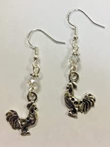 Rooster or Chicken Silver Charm Earrings, Farm Country Earrings, accented with clear faceted crystal accent bead, on sterling silver earwires