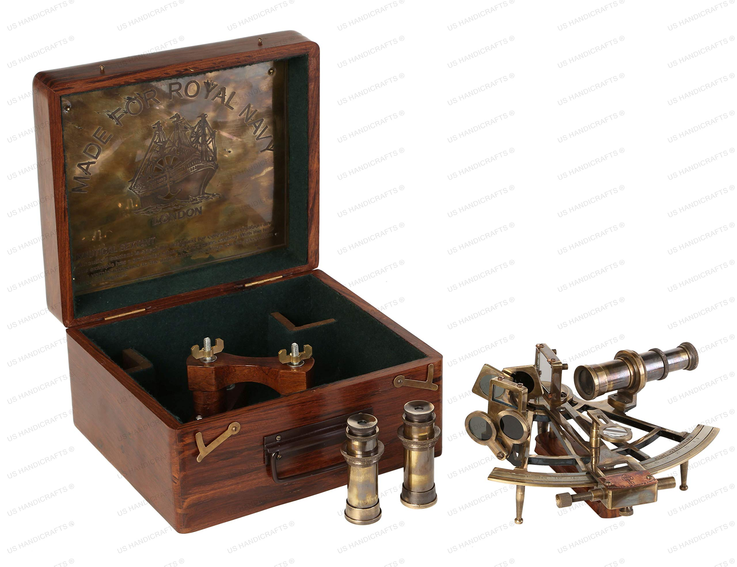 8 Inch Maritime Antiques Marine Captain Sextant - Brass Nautical Sextant by US HANDICRAFTS