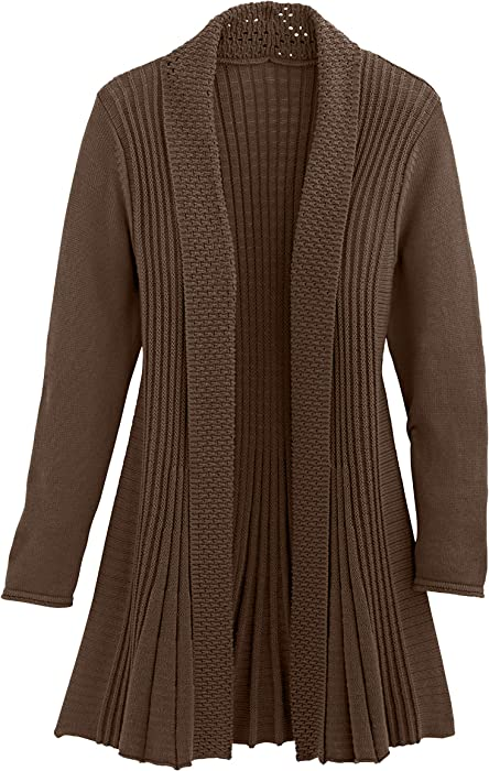 f1123c00d349 Cardigans for Women Long Sleeve Midweight Swingy Knit Cardigan Sweater  W Pocket-Brown (