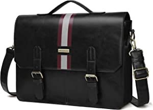ECOSUSI Men's Briefcase PU Leather Shoulder Satchel Computer Bag with Back Pocket fits 15.6 inch Laptop, Black