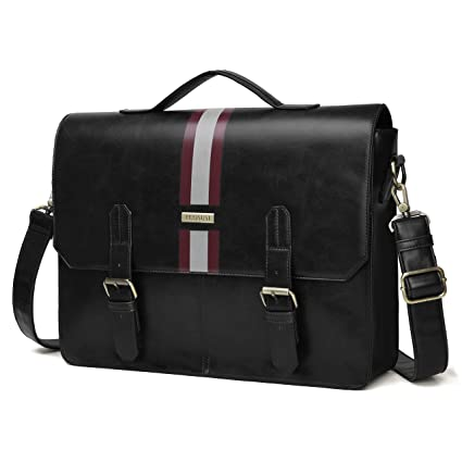 Image Unavailable. Image not available for. Color  ECOSUSI Men s Briefcase  PU Leather Shoulder Satchel Computer Bag with Back Pocket fits 15.6 inch  Laptop ecbfac3bdd200