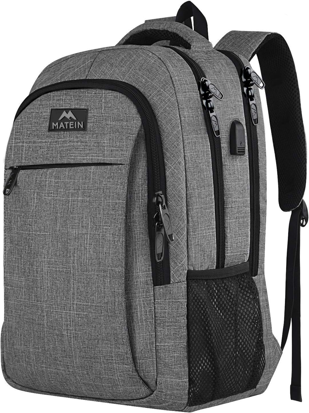 Mochila de viaje portátil, mochila profesional de negocios con puerto de carga USB, mochila escolar liviana resistente al agua para mujeres y hombres, para portátil de 15.6 pulgadas y portátil gris
