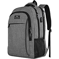 MATEIN Travel Laptop Backpack, Work Bag Lightweight Laptop Bag with USB Charging Port, Anti Theft Business Backpack, Water Resistant School Rucksack for Men Women, Fits 15.6 Inch Laptop-Grey