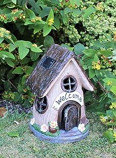 Solar Garden Decor Large Fairy House Pixie Thatch Outdoor Ornament