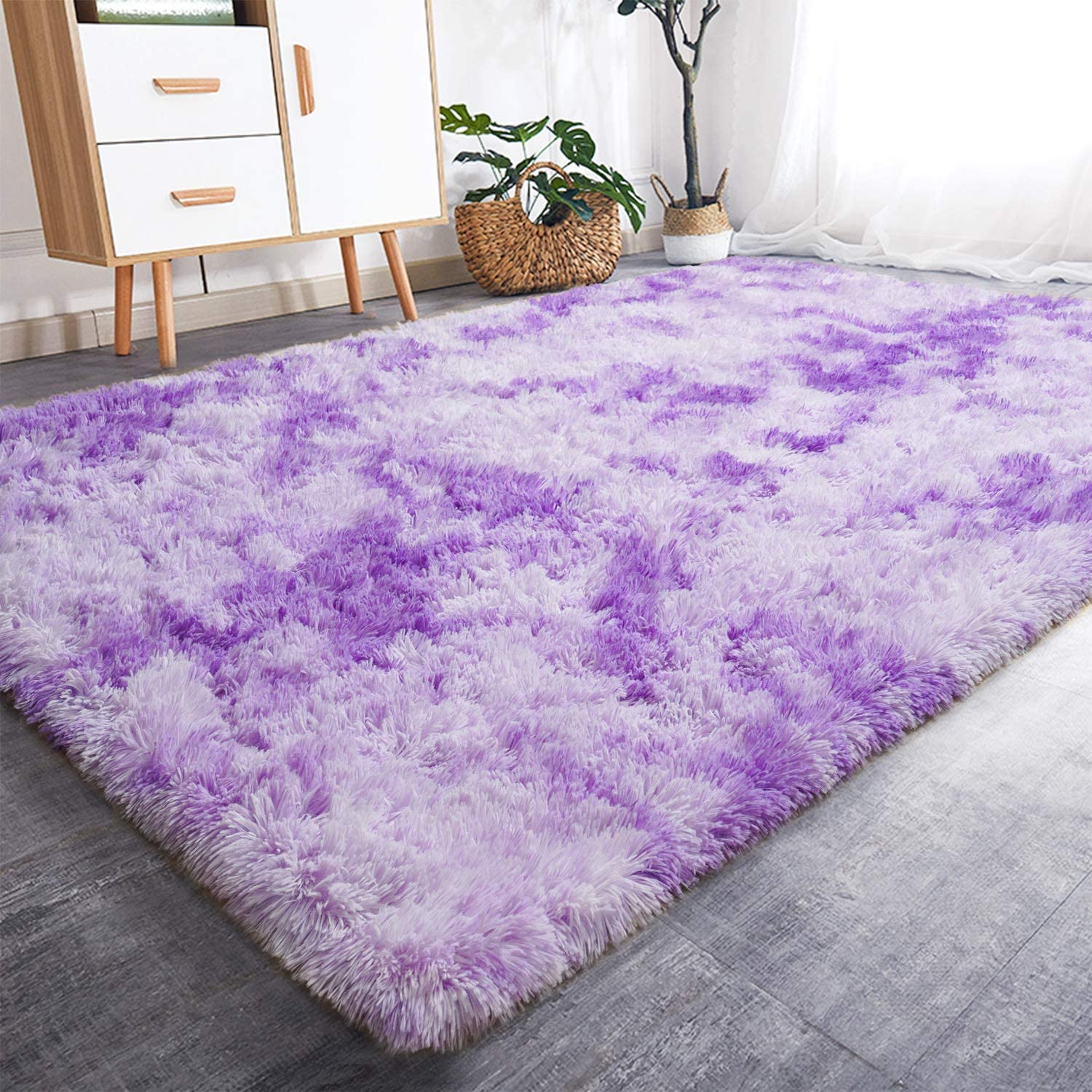 Rostyle Luxury Fluffy Area Rugs Shag Indoor Nursery Rug for Boys Girls Extra Soft Fuzzy Kids Bedroom Carpets Plush Living Room Home Decorate Area Rugs, 6 ft x 9 ft, Purple