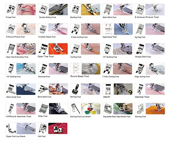 32 piezas máquina de coser juego de pies prensatelas para Brother, Babylock, Elna, cantante, Janome, Toyota, New Home, Simplicity, Necchi, Kenmore, ...