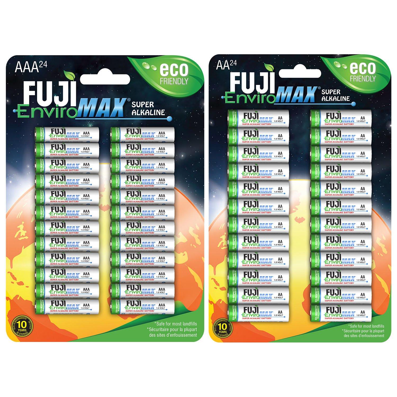 Fuji EnviroMAX Super Alkaline AA + AAA Set - Eco Friendly Batteries (Pack of 48 (24AA + 24AAA)) by Fuji EnviroMAX