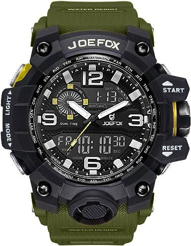 Reloj de pulsera analógico-digital para hombre. Diseño deportivo y militar, con cronógrafo y caja grande de 56 mm. Impermeable, pantalla LED y correa de resina. Color verde: Amazon.es: Relojes