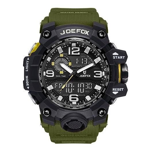 Reloj de Pulsera Digital para Hombre, analógico Deportivo Militar, cronógrafo Digital, Correa de Resina LED Resistente al Agua 56 mm, Color Verde: ...