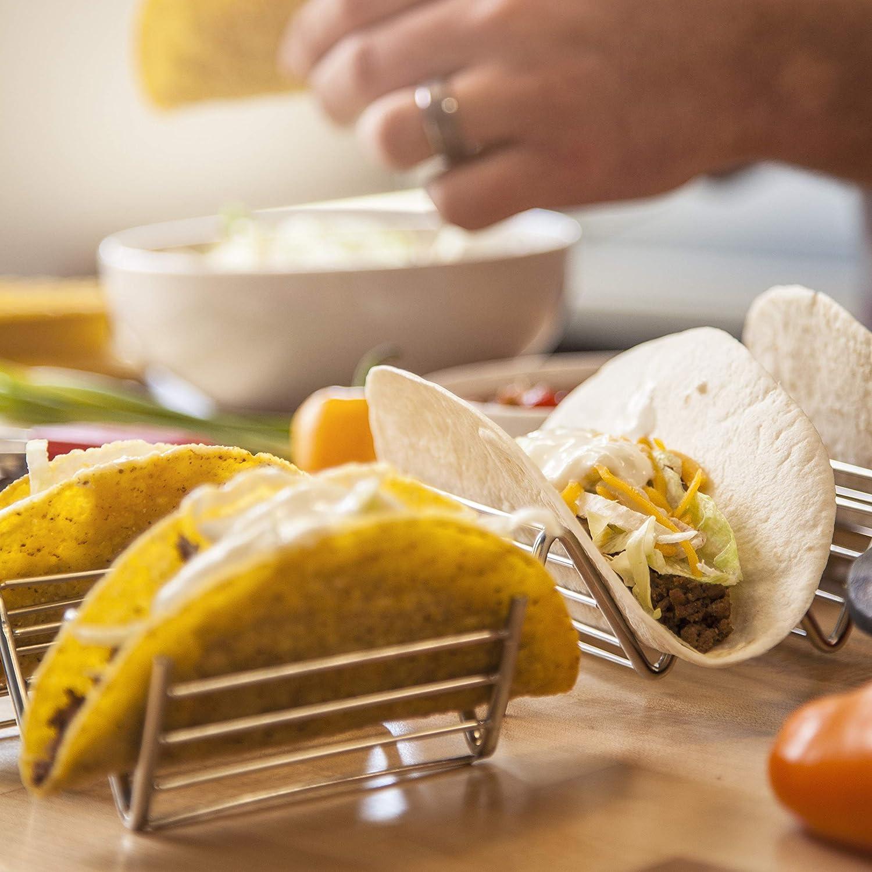 Grille 2 Taille 1 UPKOCH Support /à Tacos en Acier Inoxydable Porte-Tacos Mexicain Supporte Un Plateau pour Le Lave-Vaisselle Domestique Va Au Four