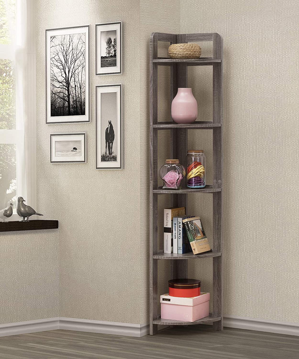 5 Tier Wood Wall Corner Bookshelf Bookcase Accent Etagere In Weathered Grey Finish By Raamzo Amazon Co Uk Kitchen Home