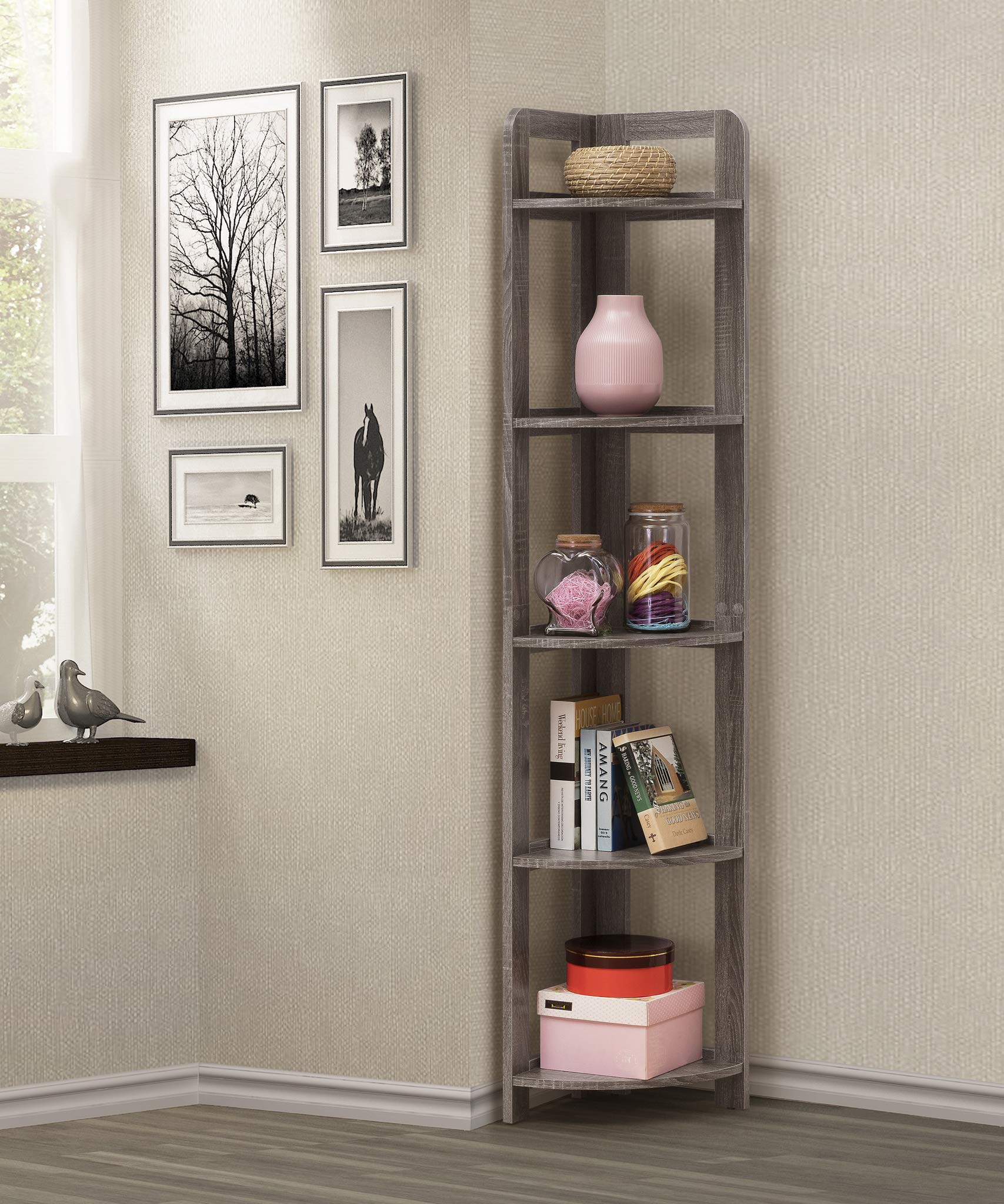 eHomeProducts Weathered Grey Finish 5-Tier Wood Wall Corner Bookshelf Bookcase Accent Etagere by eHomeProducts