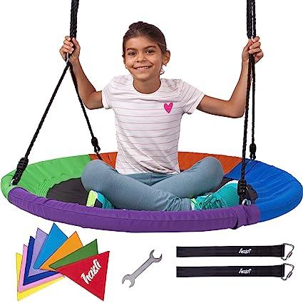 Amazon Com Hazli 40 Round Outdoor Tree Swing For Kids Large
