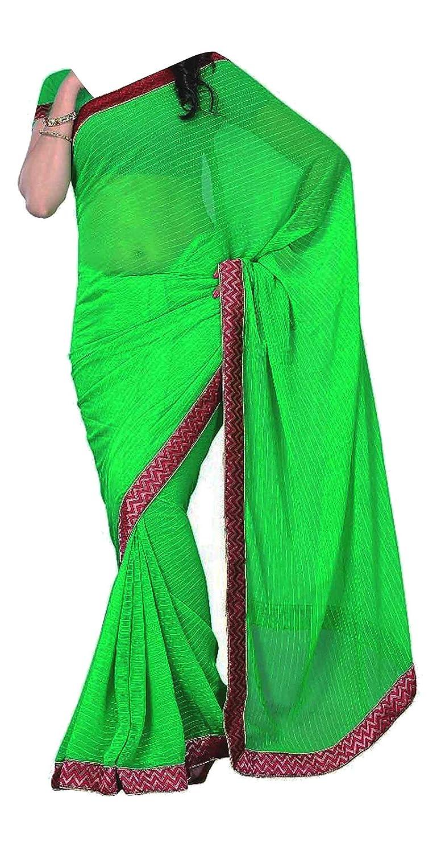 Women clothing Elegant plain simple contrast border Green saree with blouse 7031