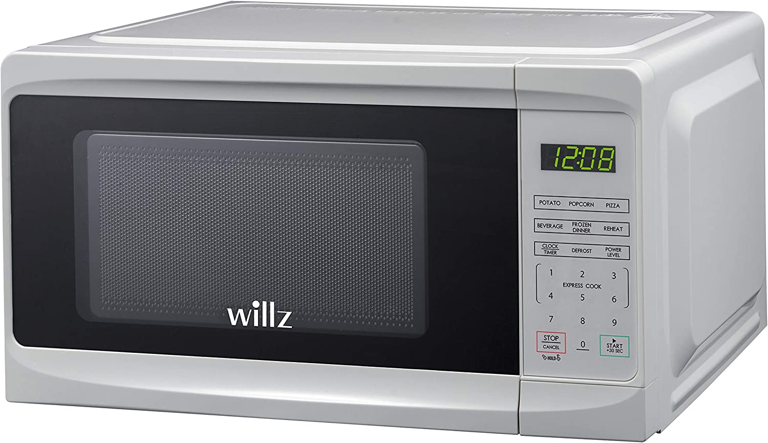Willz WLCMD207WE-07 Countertop Microwave Oven, 0.7 Cu.Ft/700W Microwave Oven, 6 Cooking Programs LED Lighting Push Button, 1 Glass Tray, 1 Roller Ring, 1 Shaft, 1 Power Cord, White