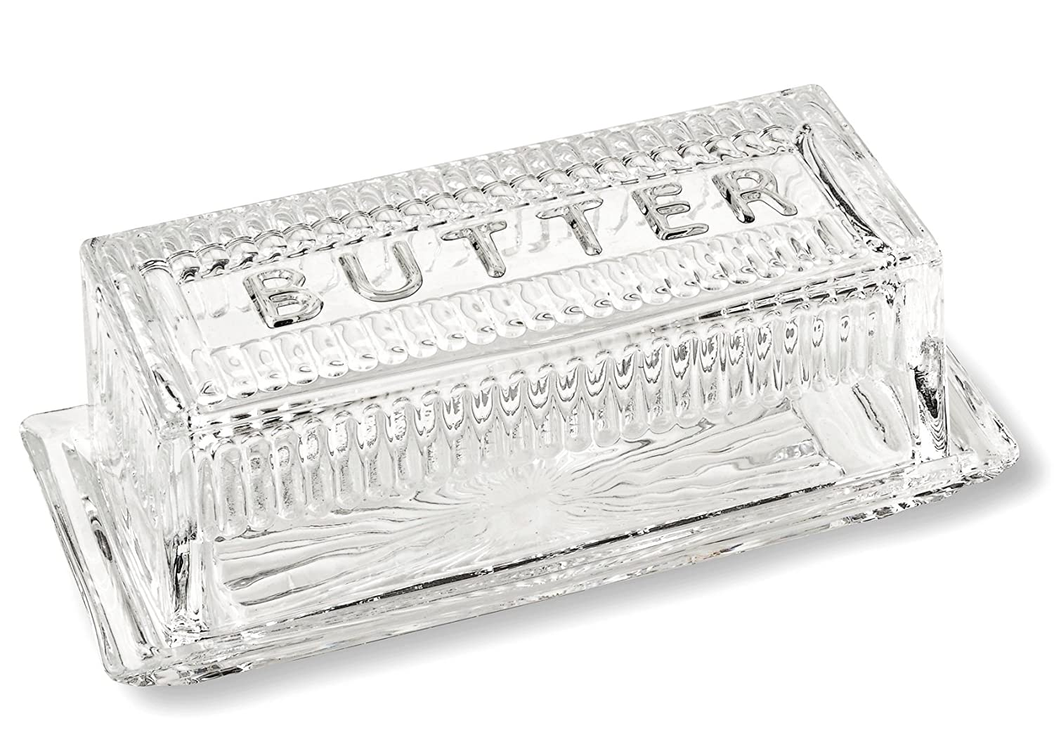 Bezrat Lead-Free Crystal Covered Modern French Butter Dish With Lid BT406