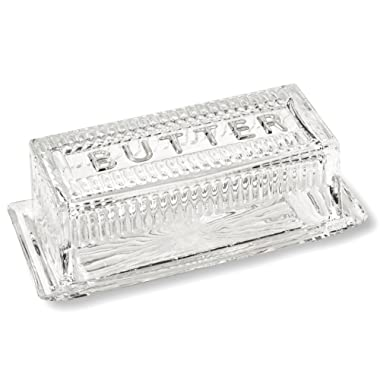 Bezrat Lead-Free Crystal Covered Modern French Butter Dish With Lid