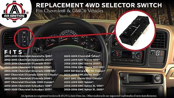 03-06 Silverado Sierra Yukon Tahoe Suburban 4-Wheel Drive Selector Switch 4x4