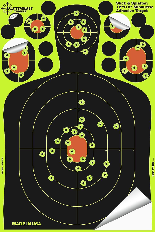 Splatterburst Targets - 12 x18 inch - Stick & Splatter Silhouette Self Adhesive Shooting Targets - Shots Burst Bright Fluorescent Yellow - Gun - Rifle - Pistol - Airsoft - Air Rifle : Sports & Outdoors