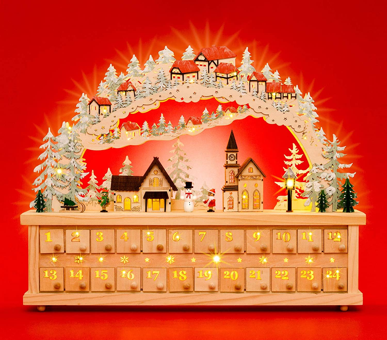 Sikora LB81 XXL Holz LED Schwibbogen Adventskalender zum Befüllen