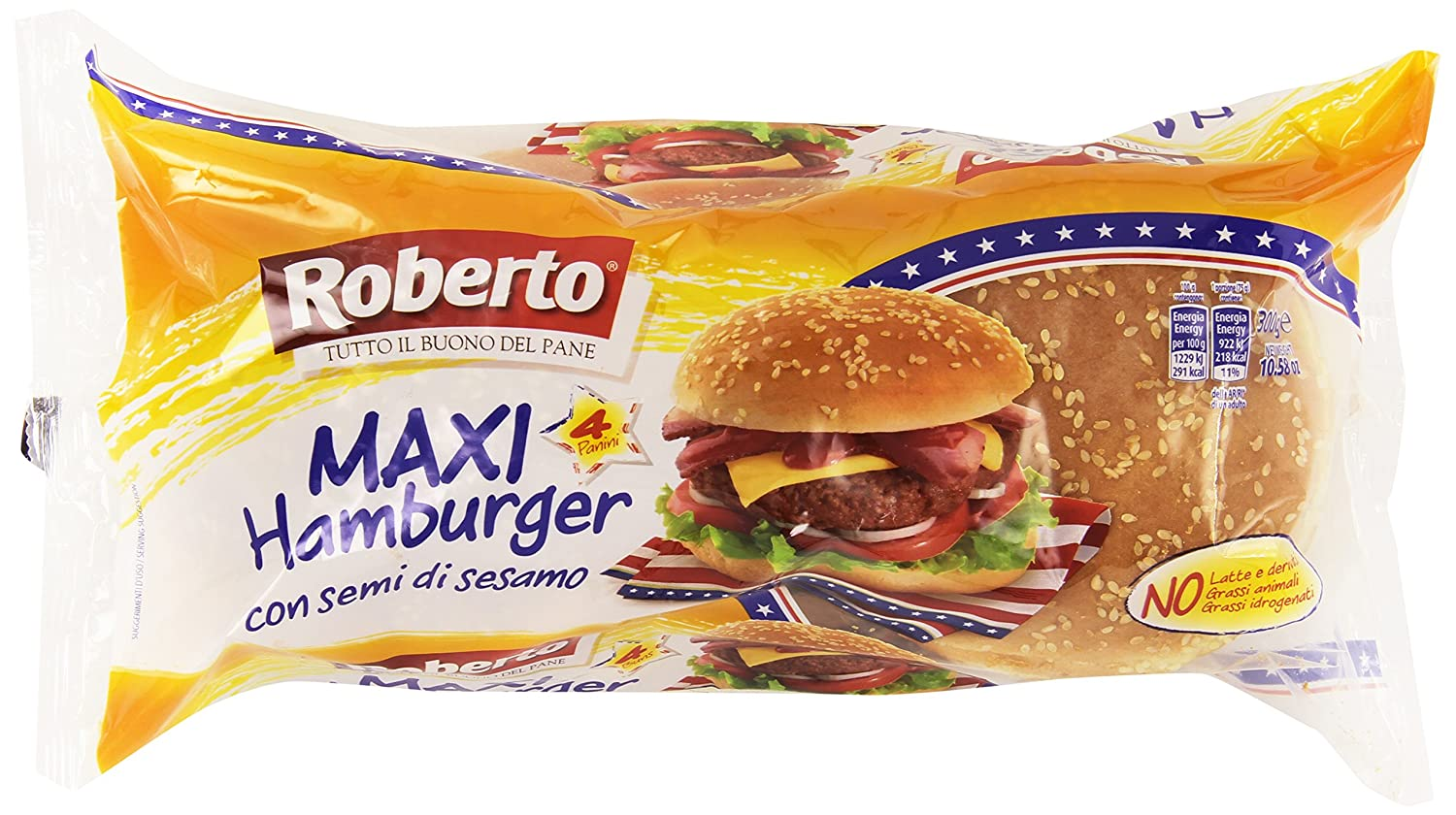 Favoloso Roberto Pane Maxi Hamburger Sesamo - 300 gr: Amazon.it: Amazon Pantry FL55