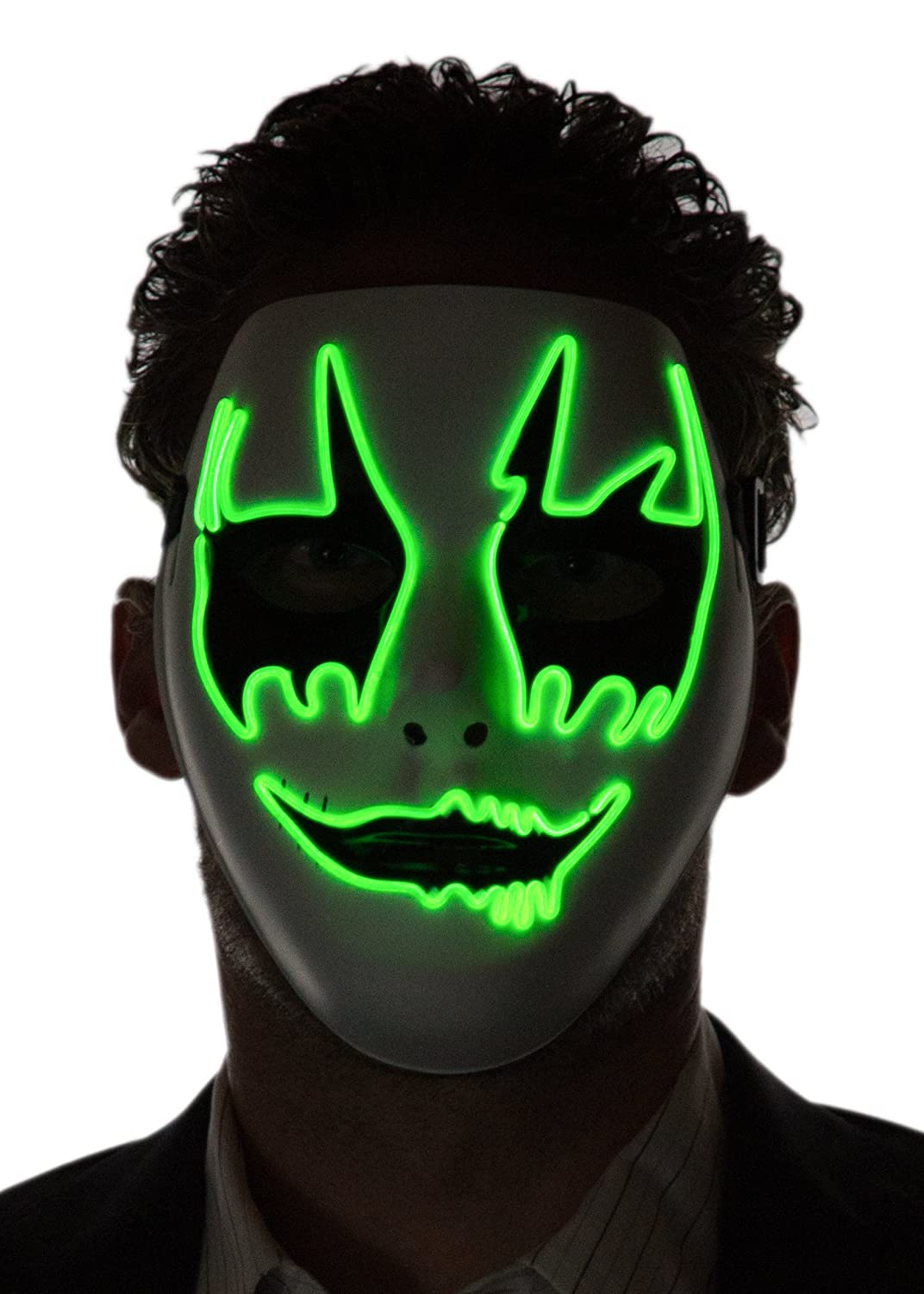 Neon Nightlife Men's Light up Clown Mask, One Size Green CLOWN-MASK-GREEN