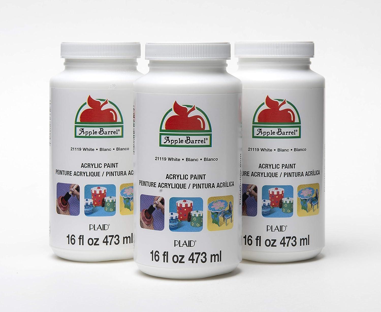 Apple Barrel Acrylic Craft Paint, 3 bottle, WHITE 3 Pack
