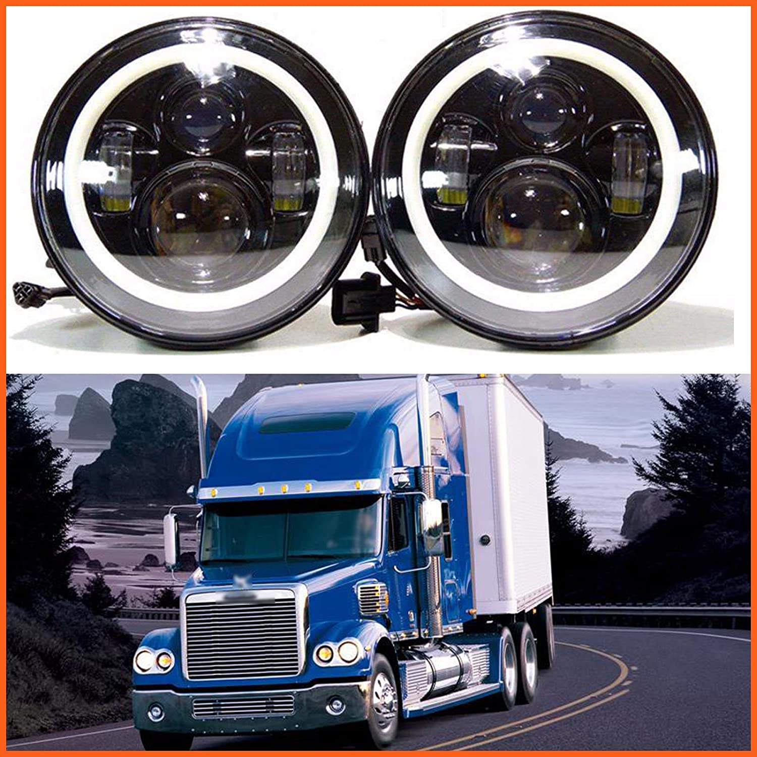 7 Inch For Freightliner Coronado Led Round Headlight Wiring Diagram Halo Ring Angel Eyes Hi Low Double Beam Drl Amber Turning Signal Lights Replacement 6000k