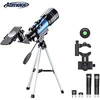 Aomekie Telescopio para Niños Principiante 70/300 Astronomico Refractor con Trípode Adaptador para Teléfono Ffiltro Lunar para observación de Estrellas y observación de Aves