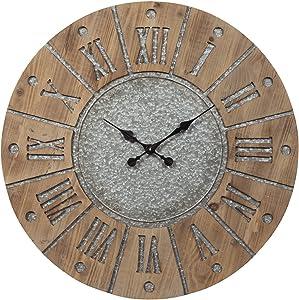 Ashley Furniture Signature Design - Payson Wall Clock - Farmhouse Style - Antique Gray/Natural
