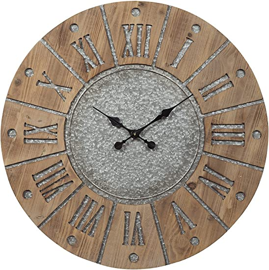 Ashley Furniture Signature Design – Payson Wall Clock – Farmhouse Style – Antique Gray Natural