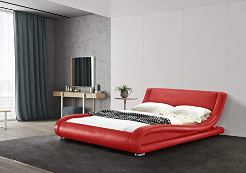 Greatime B1070 Eastern King Red Color Comtemparay Upholstered Platform Bed