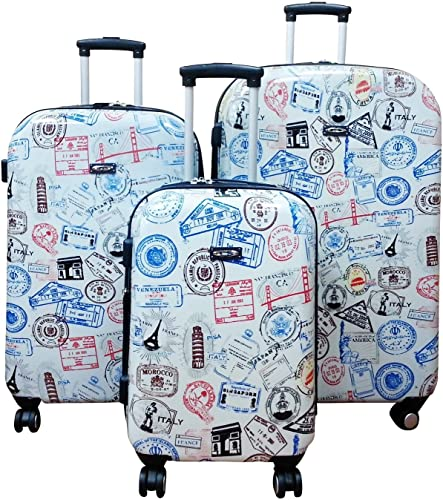 Kemyer, 888 Hard Shell Wheeled Spinner 3 Pc Set 29-inch 25-inch 20-inch Luggage Set Silver Stamps