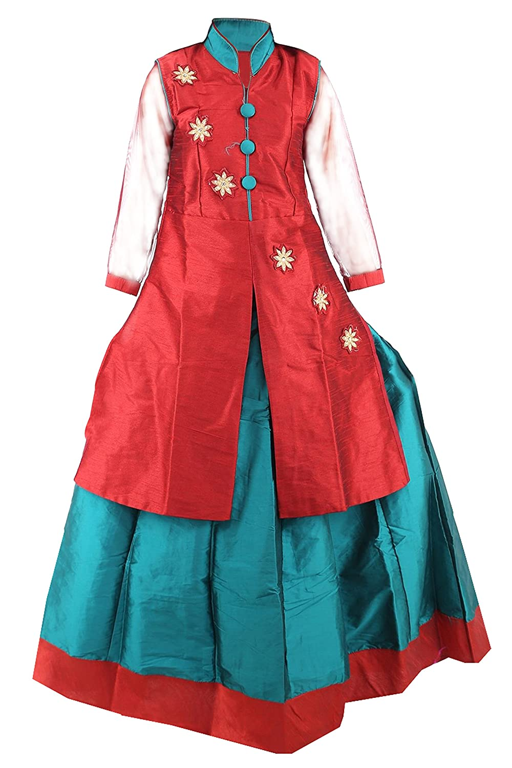 4e64e2d97f39d JBN Creation Girls Embroidered Jacket And Lehenga Set For Kids (Color   Maroon   Green)  Amazon.in  Clothing   Accessories