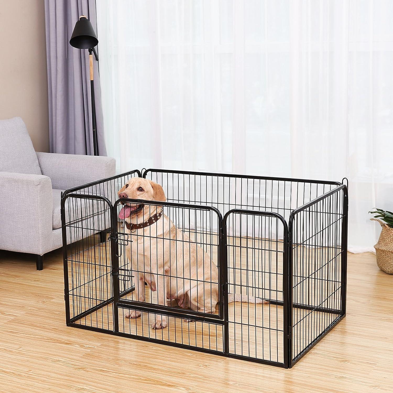 FEANDREA Recinto per Cani Box per Animali Pieghevole con Pannelli di Rete Metallica Nero PPK04BK