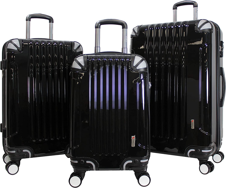AMKA 3-Piece TSA Locks Hardside Upright Spinner Luggage Set-Black