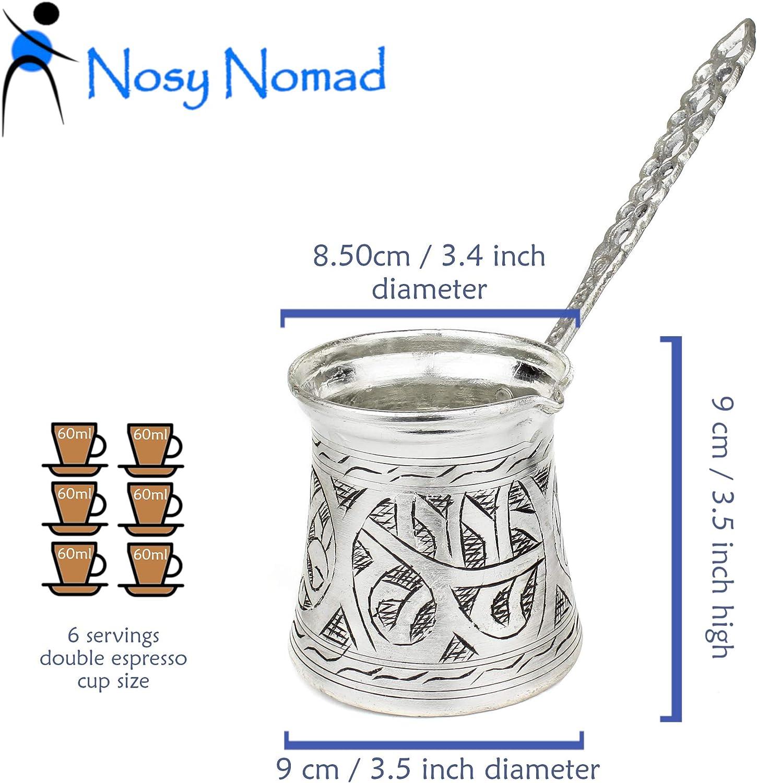 Nosy Nomad Cafetera Turca: Cezve Cafetera de Cobre Plateado con ...