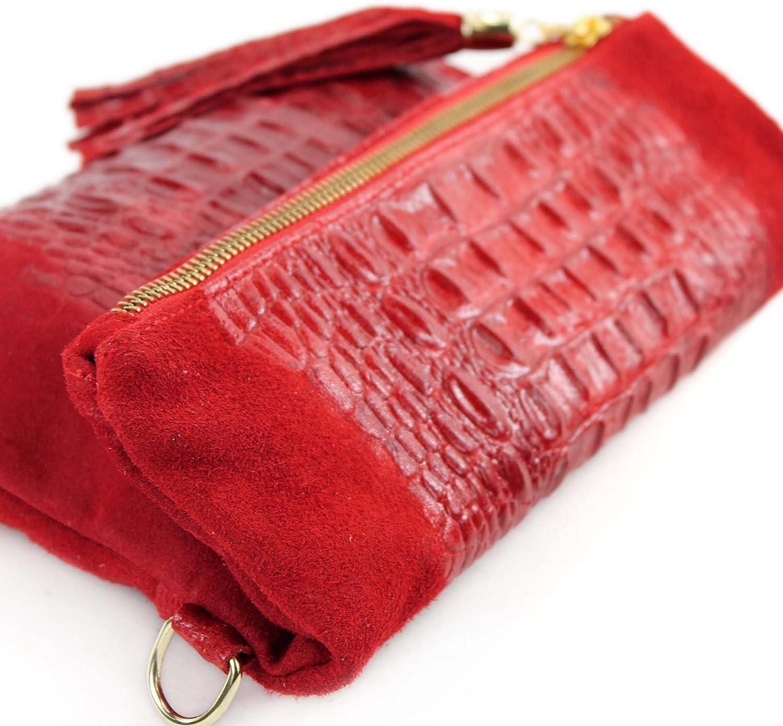 Italian leather bag Clutch shoulder bag underarm bag shoulder bag small nappa leather Wild leather/croco T54 Red Suede / Crocodile