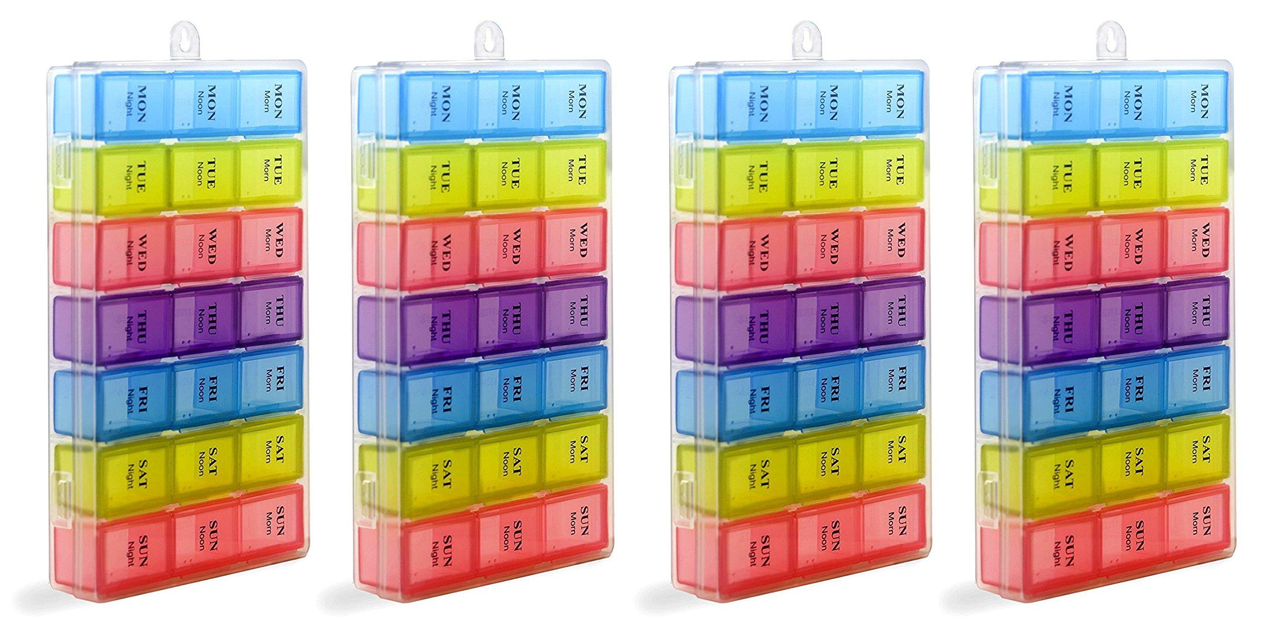 Pill Organizer Box Weekly Case, Medicine Organizer, Vitamin Organizer, Reminder Daily Am PM, Day Night Compartments 7 days (4 items)