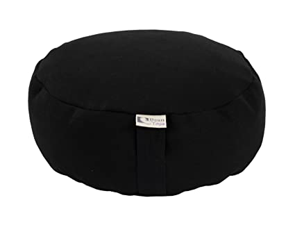 Bean Products Hemp Black - Round Zafu Meditation Cushion - Yoga - Organic Buckwheat Fill - Made in USA