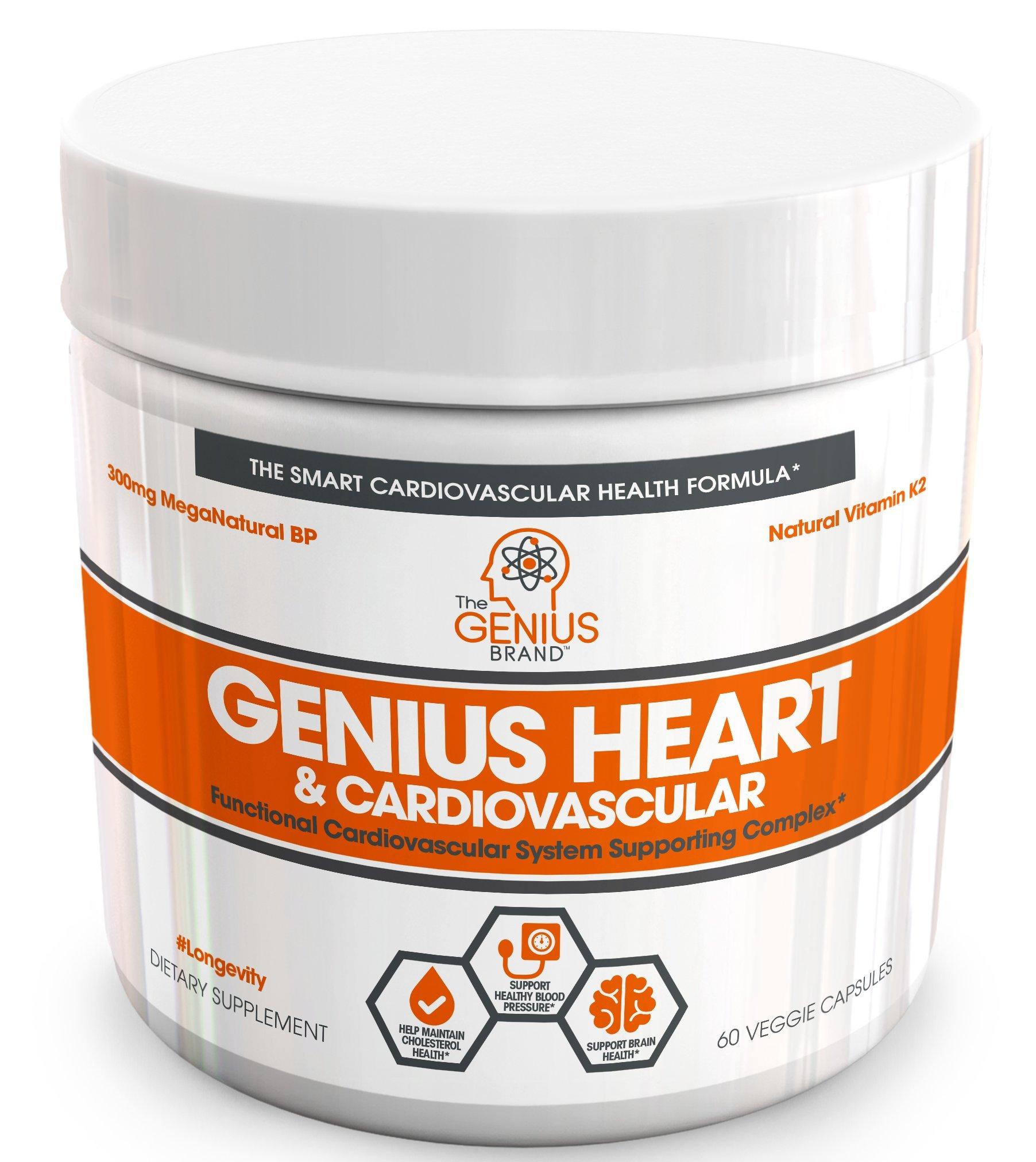 Genius Heart & Cardiovascular Health Supplement – Cholesterol Lowering Vein & Blood Pressure Support w/ Grape Seed Extract, Vitamin K2 MK7 & CoQ10 – Antioxidant Energy For Men & Women,60 Veggie Pills