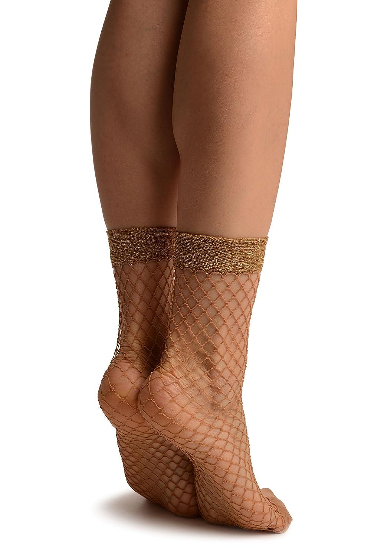 3731a7c07ac1f Beige Fishnet With Gold Lurex Ankle High Socks - Beige Ankle High Designer  Socks: Amazon.co.uk: Clothing