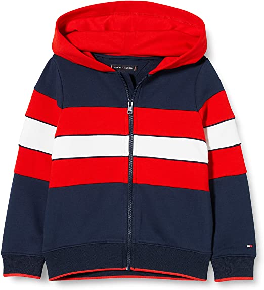 TALLA 4. Tommy Hilfiger TH Colorblock Hoodie Suéter para Hombre