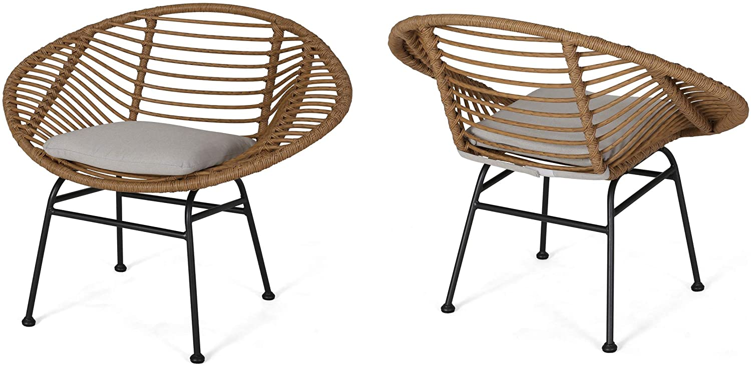 Set of 2 Christopher Knight Home 309287 Aleah Indoor Woven Faux Rattan Chairs with Cushions Light Brown and Beige Finish