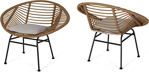 Christopher Knight Home Aleah Indoor Woven Faux Rattan Chairs with Cushions Set of 2 , Light Brown and Beige Finish