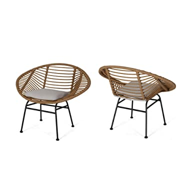 Aleah Outdoor Woven Faux Rattan Chairs with Cushions (Set of 2), Light Brown and Beige Finish