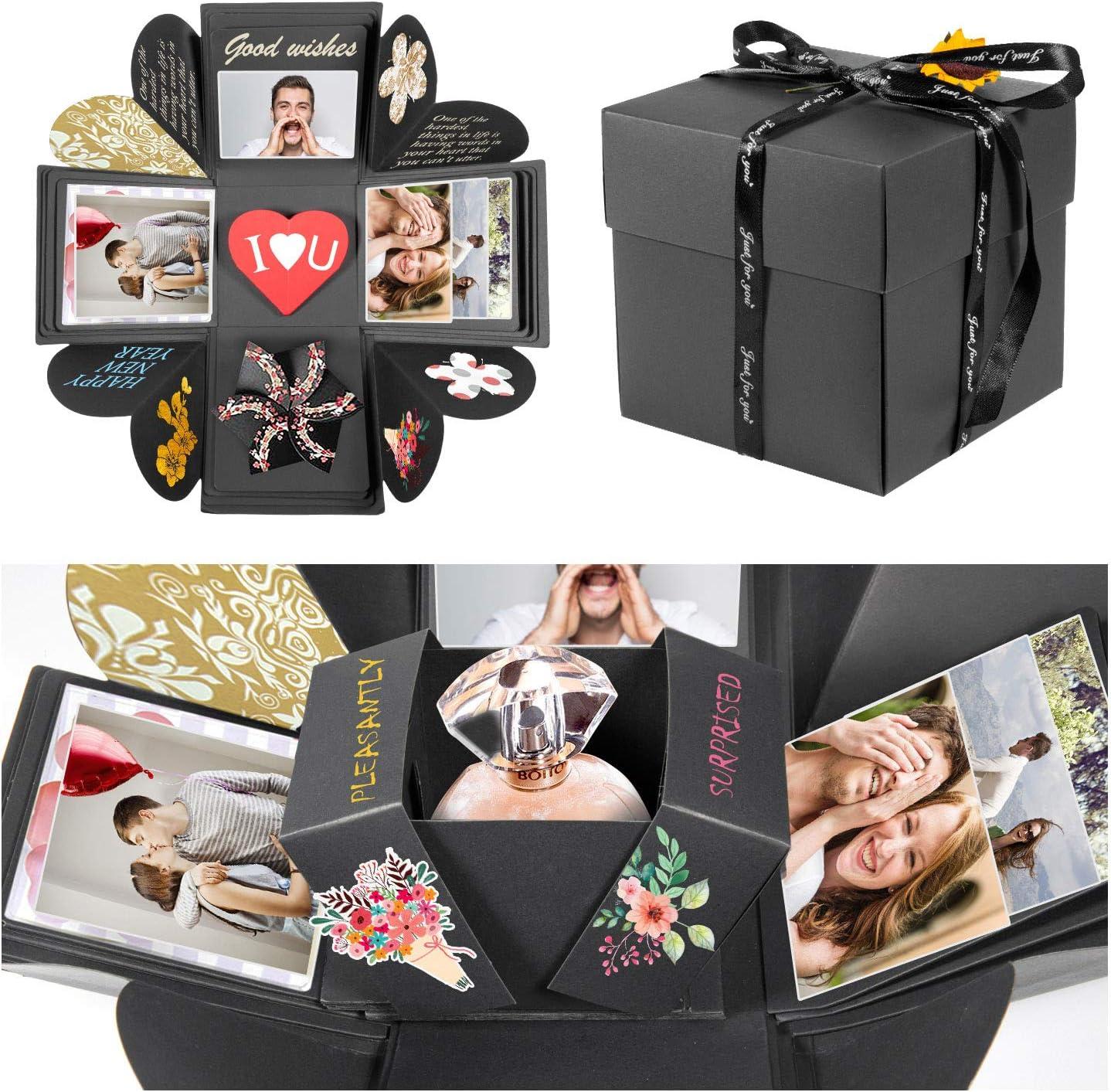 ZWOOS Explosion Box, Creative DIY Scrapbook Hecho a Mano Sorpresa Álbum de Fotos cumpleaños, Día de San Valentín Aniversario Navidad Caja de Regalo(Negro)