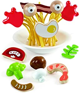 Hape Silly Spaghetti |13 Piece Wooden Spaghetti Fidget Toy, Colorful Pretend Play Cooking Set for Kids 3 Years and Up (E3165)