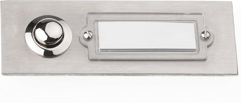 acero inoxidable, 1 pulsador, rectangular, con placa para nombre Huber 12506 Pulsador de timbre